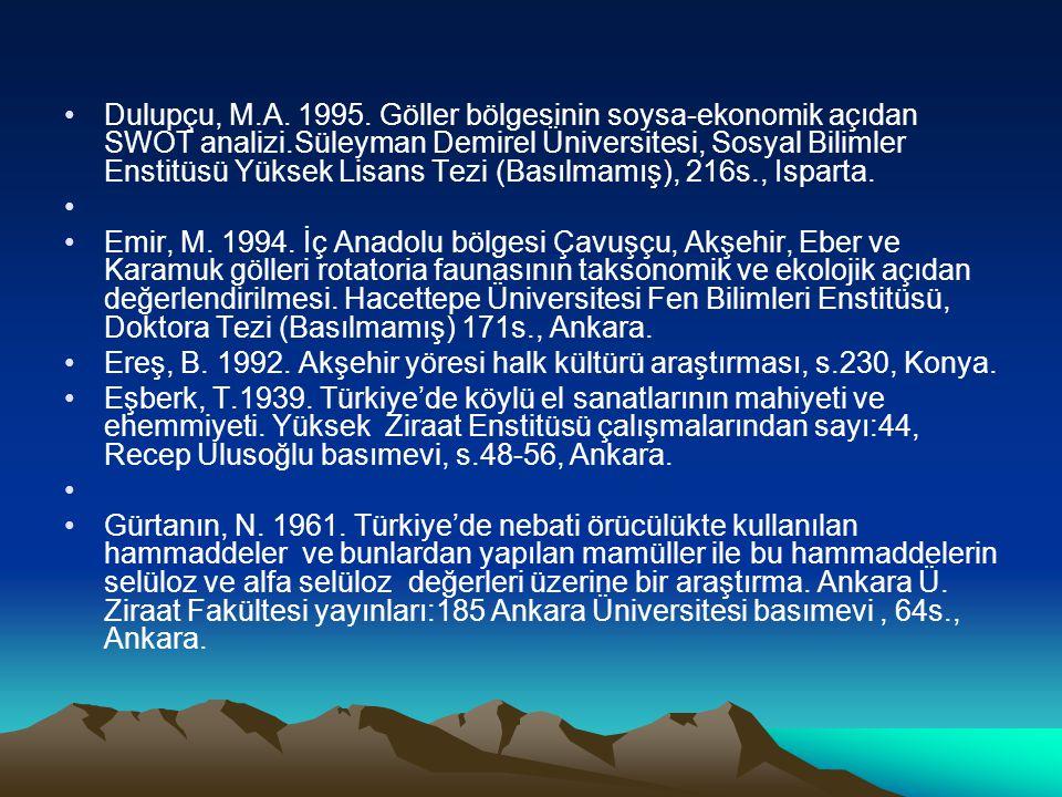 Dulupçu, M.A. 1995. Göller bölgesinin soysa-ekonomik açıdan SWOT analizi.Süleyman Demirel Üniversitesi, Sosyal Bilimler Enstitüsü Yüksek Lisans Tezi (
