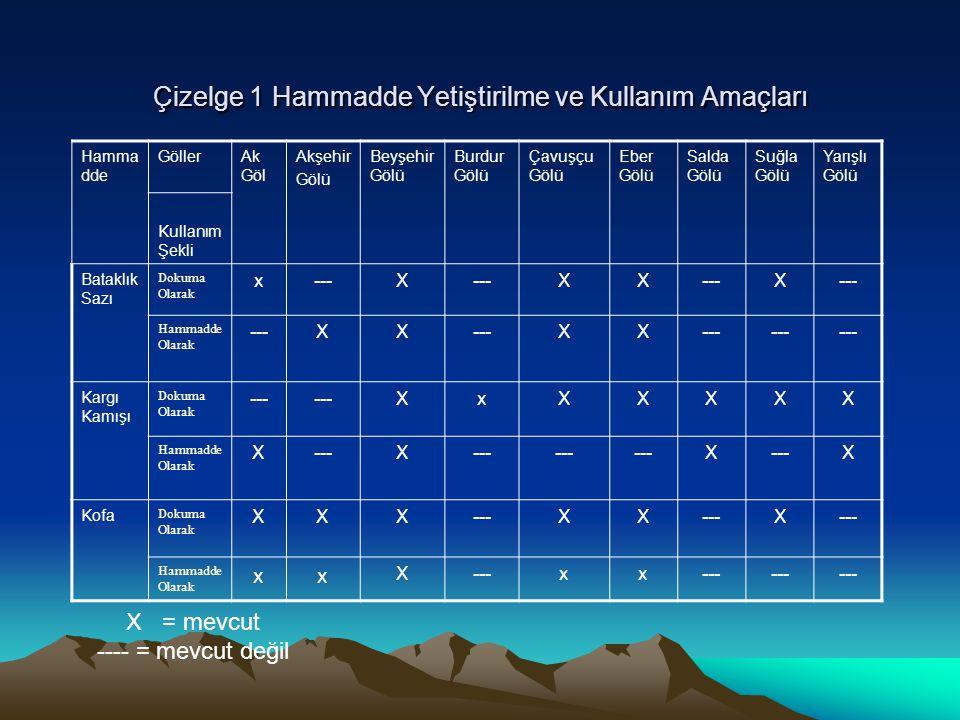 Çizelge 1 Hammadde Yetiştirilme ve Kullanım Amaçları Hamma dde GöllerAk Göl Akşehir Gölü Beyşehir Gölü Burdur Gölü Çavuşçu Gölü Eber Gölü Salda Gölü S