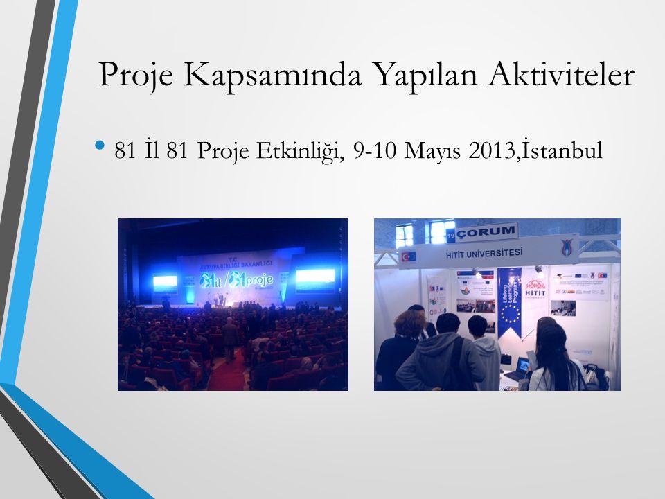 81 İl 81 Proje Etkinliği, 9-10 Mayıs 2013,İstanbul Proje Kapsamında Yapılan Aktiviteler