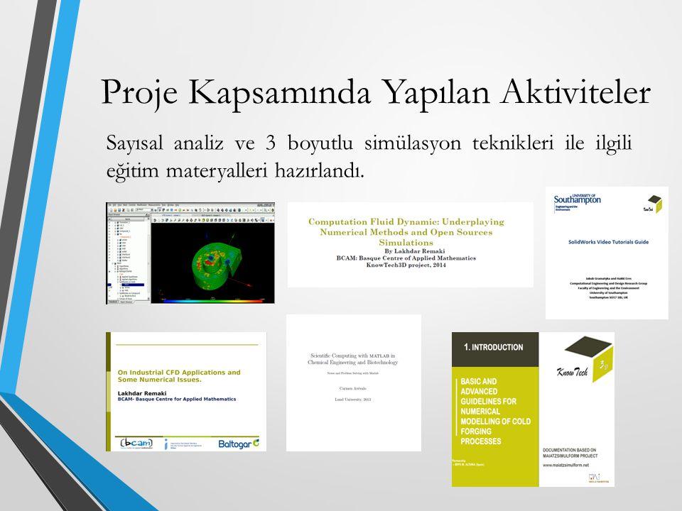 Sayısal analiz ve 3 boyutlu simülasyon teknikleri ile ilgili eğitim materyalleri hazırlandı. Proje Kapsamında Yapılan Aktiviteler