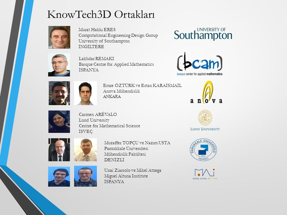 KnowTech3D Ortakları Murat Hakkı ERES Computational Engineering Design Group University of Southampton İNGİLTERE Lakhdar REMAKI Basque Centre for Applied Mathematics İSPANYA Emre ÖZTÜRK ve Ertan KARAİSMAİL Anova Mühendislik ANKARA Carmen ARÉVALO Lund University Centre for Mathematical Science İSVEÇ Muzaffer TOPÇU ve Nazım USTA Pamukkale Üniversitesi Mühendislik Fakültesi DENİZLİ Unai Ziarsolo ve Mikel Atxega Miguel Altuna Institute İSPANYA