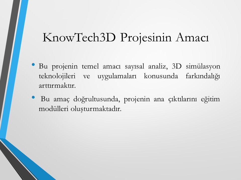 KnowTech3D Projesinin Amacı Bu projenin temel amacı sayısal analiz, 3D simülasyon teknolojileri ve uygulamaları konusunda farkındalığı arttırmaktır. B