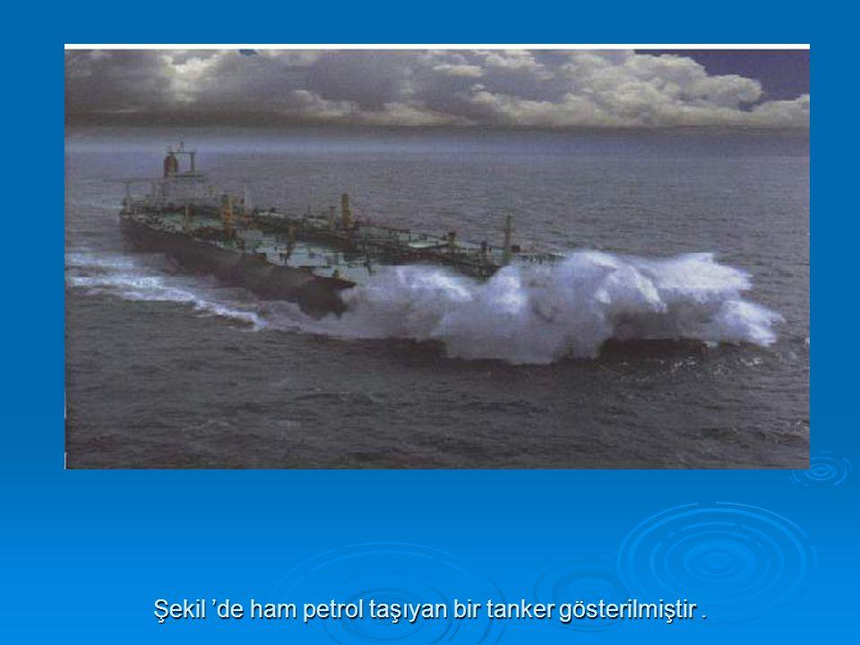 Şekil 'de ham petrol taşıyan bir tanker gösterilmiştir.