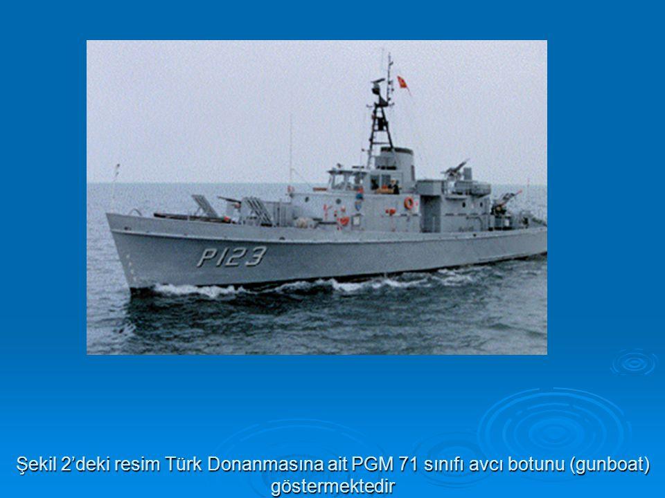 Şekil 2'deki resim Türk Donanmasına ait PGM 71 sınıfı avcı botunu (gunboat) göstermektedir