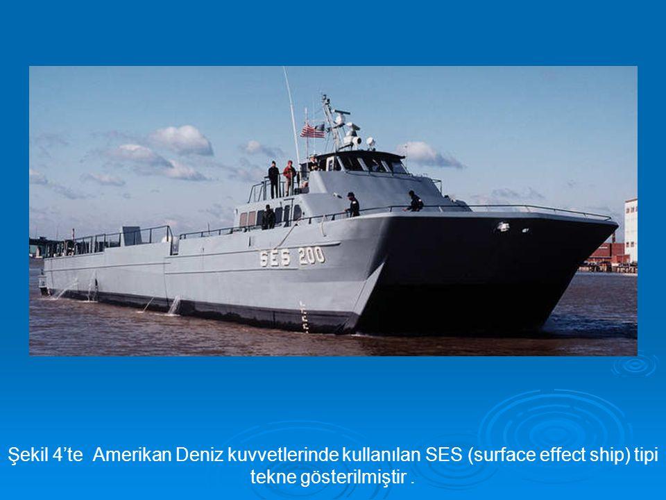 Şekil 4'te Amerikan Deniz kuvvetlerinde kullanılan SES (surface effect ship) tipi tekne gösterilmiştir.