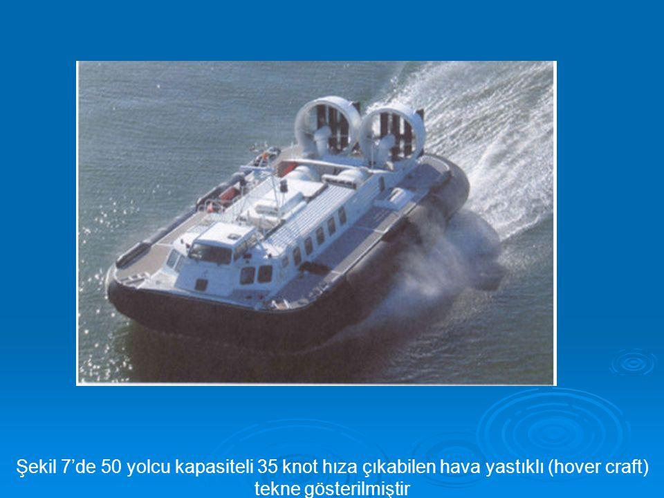 Şekil 7'de 50 yolcu kapasiteli 35 knot hıza çıkabilen hava yastıklı (hover craft) tekne gösterilmiştir