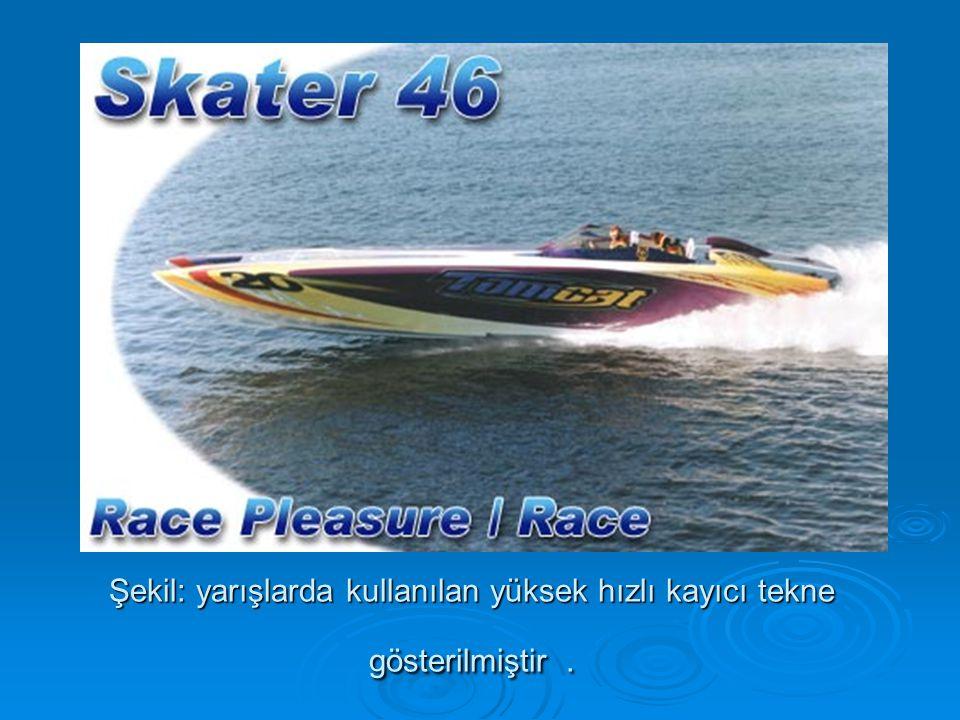 Şekil: yarışlarda kullanılan yüksek hızlı kayıcı tekne gösterilmiştir.