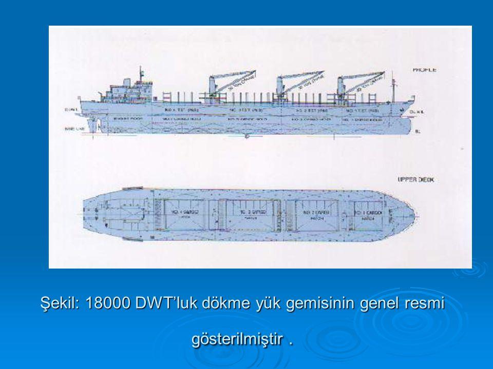 Şekil: 18000 DWT'luk dökme yük gemisinin genel resmi gösterilmiştir.