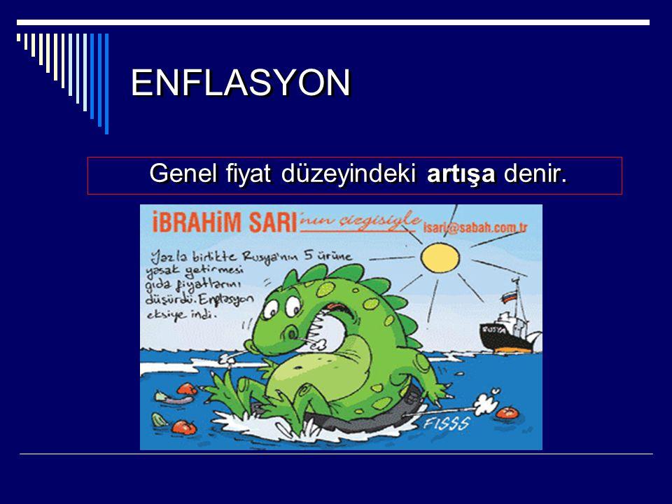 ENFLASYON Genel fiyat düzeyindeki artışa denir. Genel fiyat düzeyindeki artışa denir.