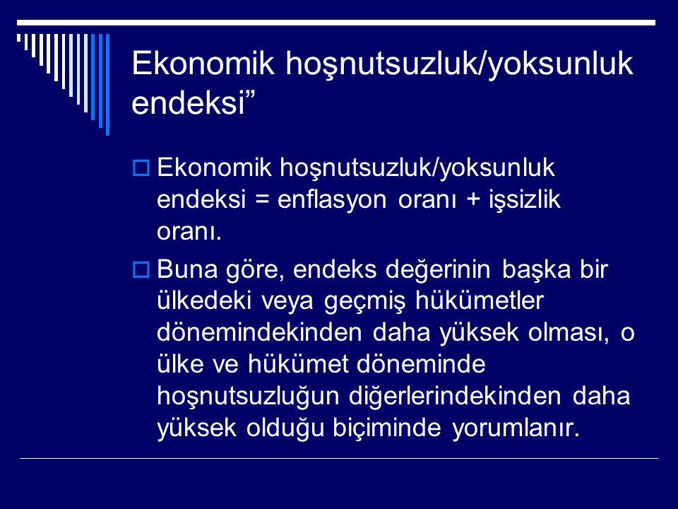 """Ekonomik hoşnutsuzluk/yoksunluk endeksi""""  Ekonomik hoşnutsuzluk/yoksunluk endeksi = enflasyon oranı + işsizlik oranı.  Buna göre, endeks değerinin b"""
