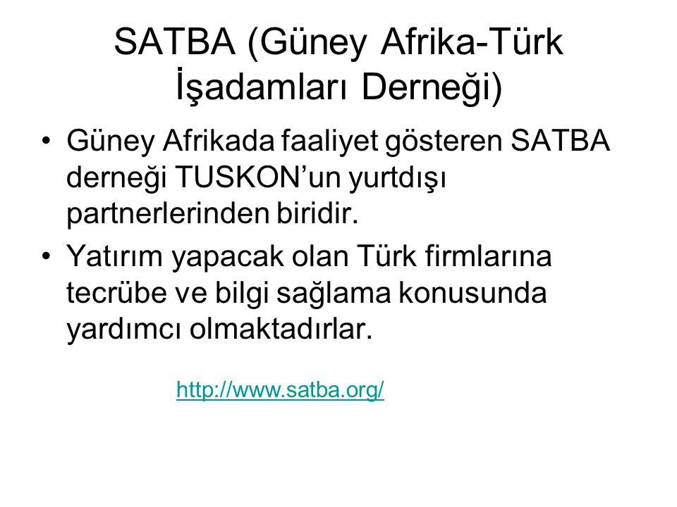 SATBA (Güney Afrika-Türk İşadamları Derneği) Güney Afrikada faaliyet gösteren SATBA derneği TUSKON'un yurtdışı partnerlerinden biridir.