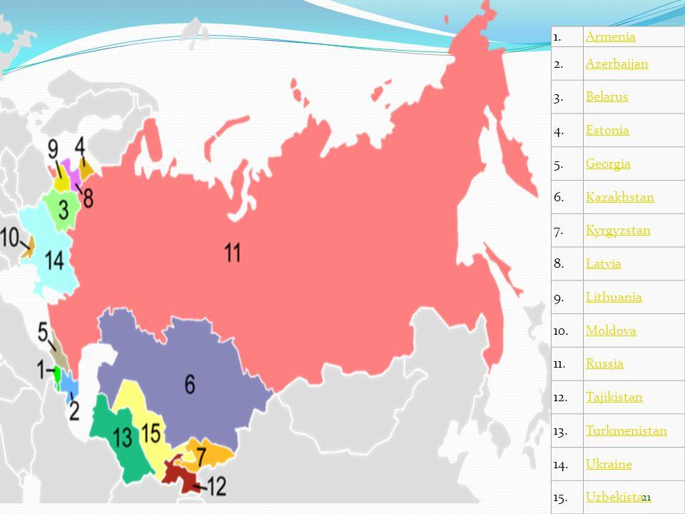 1.Armenia 2.Azerbaijan 3.Belarus 4.Estonia 5.Georgia 6.Kazakhstan 7.Kyrgyzstan 8.Latvia 9.Lithuania 10.Moldova 11.Russia 12.Tajikistan 13.Turkmenistan
