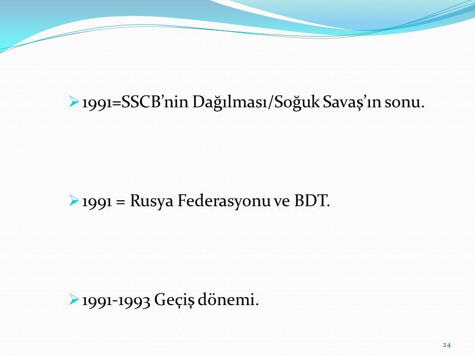  1991=SSCB'nin Dağılması/Soğuk Savaş'ın sonu.  1991 = Rusya Federasyonu ve BDT.  1991-1993 Geçiş dönemi. 24