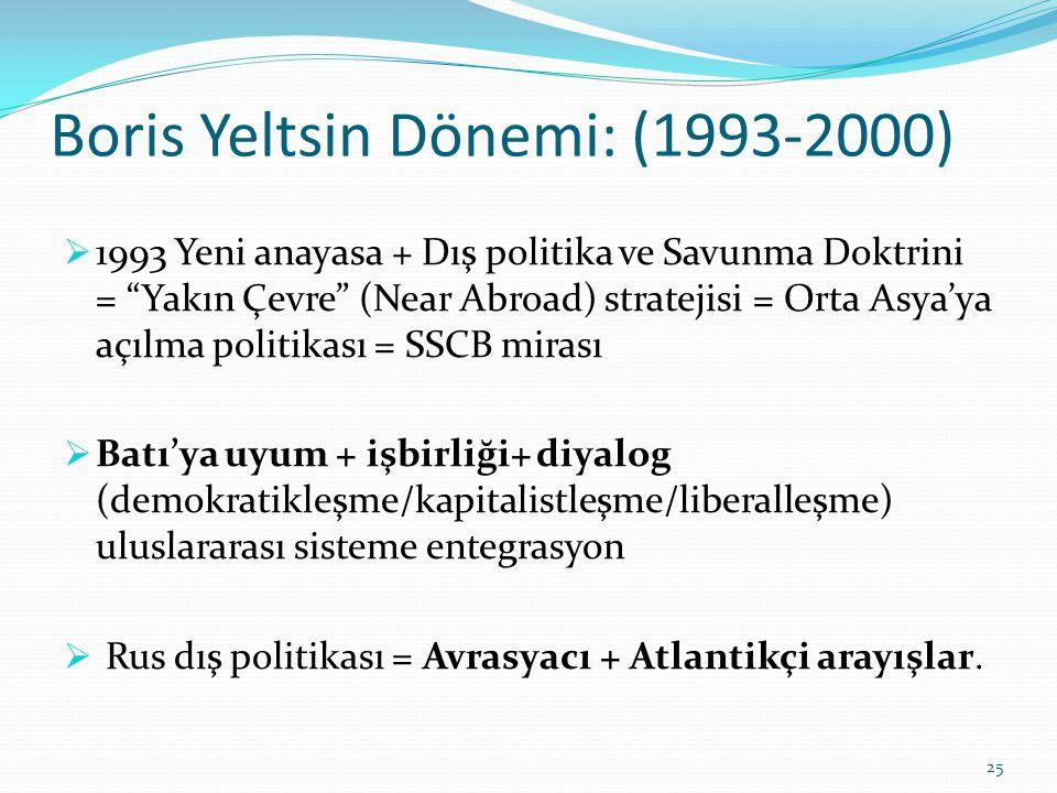 """Boris Yeltsin Dönemi: (1993-2000)  1993 Yeni anayasa + Dış politika ve Savunma Doktrini = """"Yakın Çevre"""" (Near Abroad) stratejisi = Orta Asya'ya açılm"""
