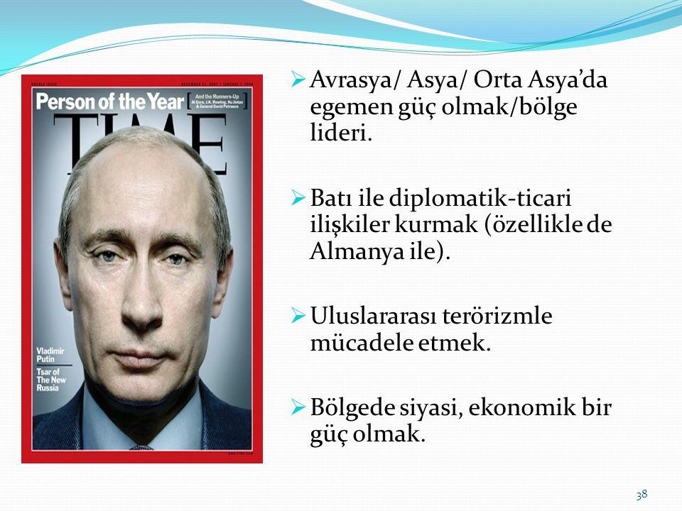  Avrasya/ Asya/ Orta Asya'da egemen güç olmak/bölge lideri.  Batı ile diplomatik-ticari ilişkiler kurmak (özellikle de Almanya ile).  Uluslararası