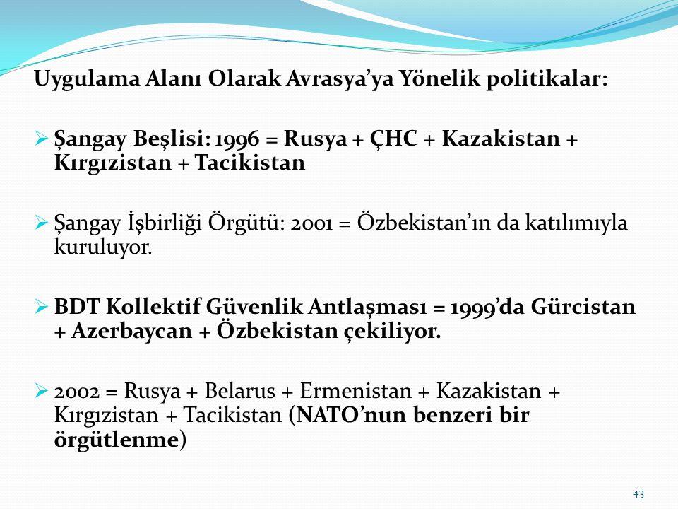 Uygulama Alanı Olarak Avrasya'ya Yönelik politikalar:  Şangay Beşlisi: 1996 = Rusya + ÇHC + Kazakistan + Kırgızistan + Tacikistan  Şangay İşbirliği