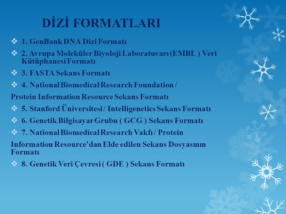 DİZİ FORMATLARI  1.GenBank DNA Dizi Formatı  2.