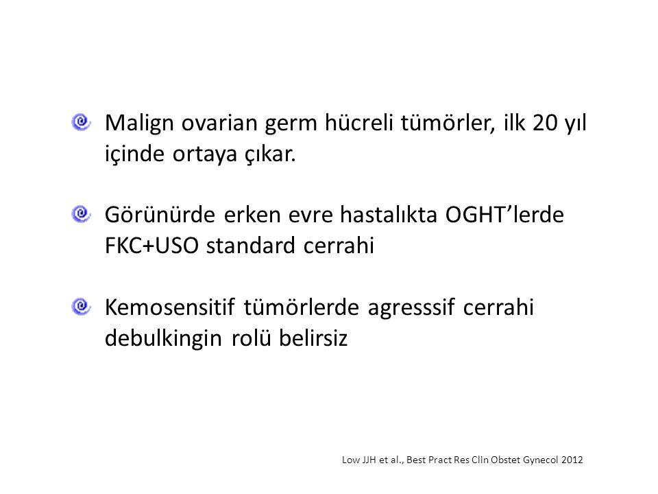 Malign ovarian germ hücreli tümörler, ilk 20 yıl içinde ortaya çıkar. Görünürde erken evre hastalıkta OGHT'lerde FKC+USO standard cerrahi Kemosensitif