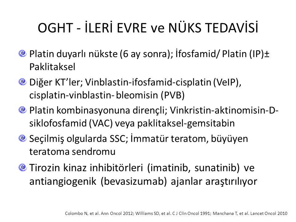 OGHT - İLERİ EVRE ve NÜKS TEDAVİSİ Platin duyarlı nükste (6 ay sonra); İfosfamid/ Platin (IP)± Paklitaksel Diğer KT'ler; Vinblastin-ifosfamid-cisplati