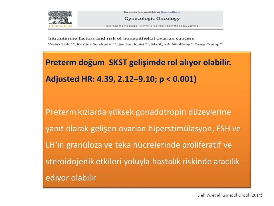 Sieh W, et al, Gynecol Oncol (2014) Preterm doğum SKST gelişimde rol alıyor olabilir. Adjusted HR: 4.39, 2.12–9.10; p < 0.001) Preterm kızlarda yüksek