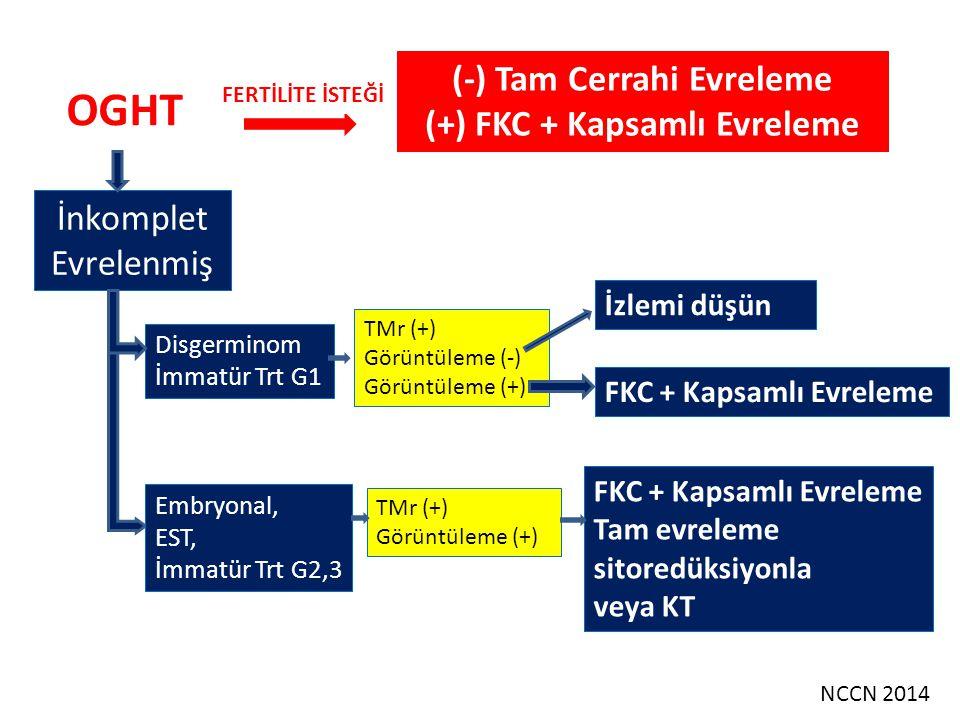 Evre I Disgerminom veya Evre I, G1 İmmatür Teratom İzlem Pediatrik/genç erişkin hastalarda tedavi olarak izlem veya KT ile yönetilebilecek hastalar: 1.Evre IA, IB disgerminom 2.Evre IA G1 İmmatür teratom 3.Evre IA Embryonal tümörler 4.Evre IA Endodermal sinüs tümörler NCCN 2014 Premenarşta pelvik kitle varsa karyotiplenmelidir.