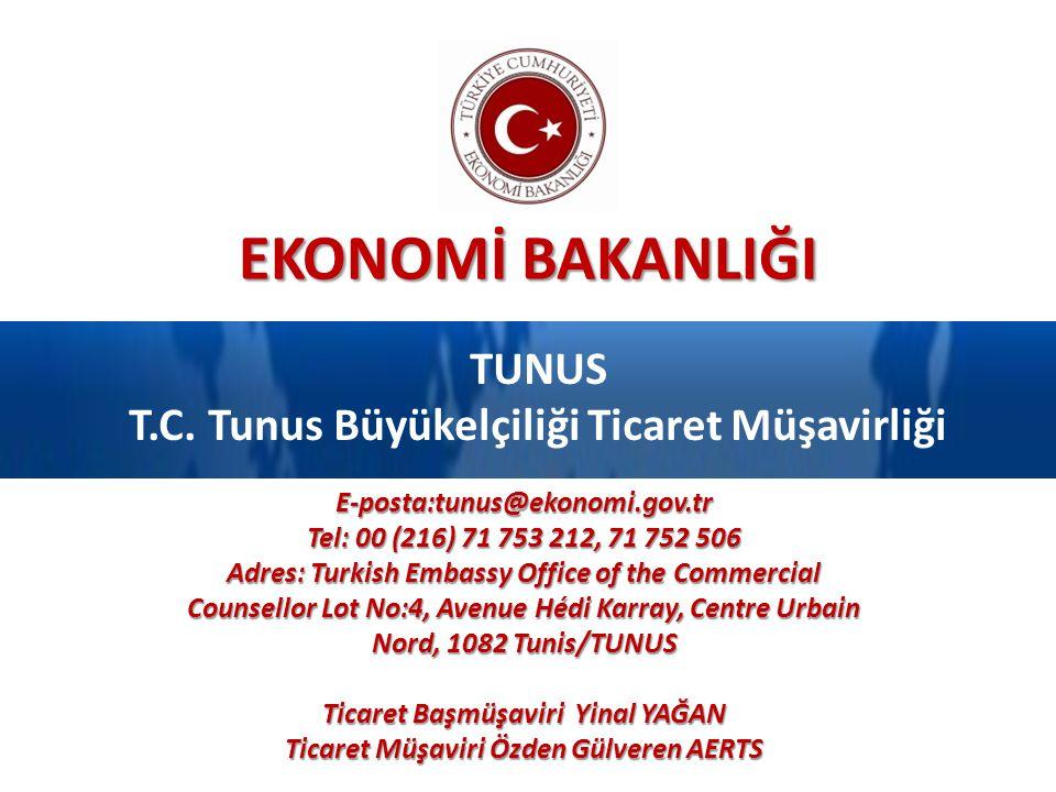 EKONOMİ BAKANLIĞI TUNUS T.C. Tunus Büyükelçiliği Ticaret Müşavirliği E-posta:tunus@ekonomi.gov.tr Tel: 00 (216) 71 753 212, 71 752 506 Adres: Turkish