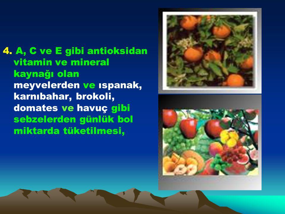 4. A, C ve E gibi antioksidan vitamin ve mineral kaynağı olan meyvelerden ve ıspanak, karnıbahar, brokoli, domates ve havuç gibi sebzelerden günlük bo
