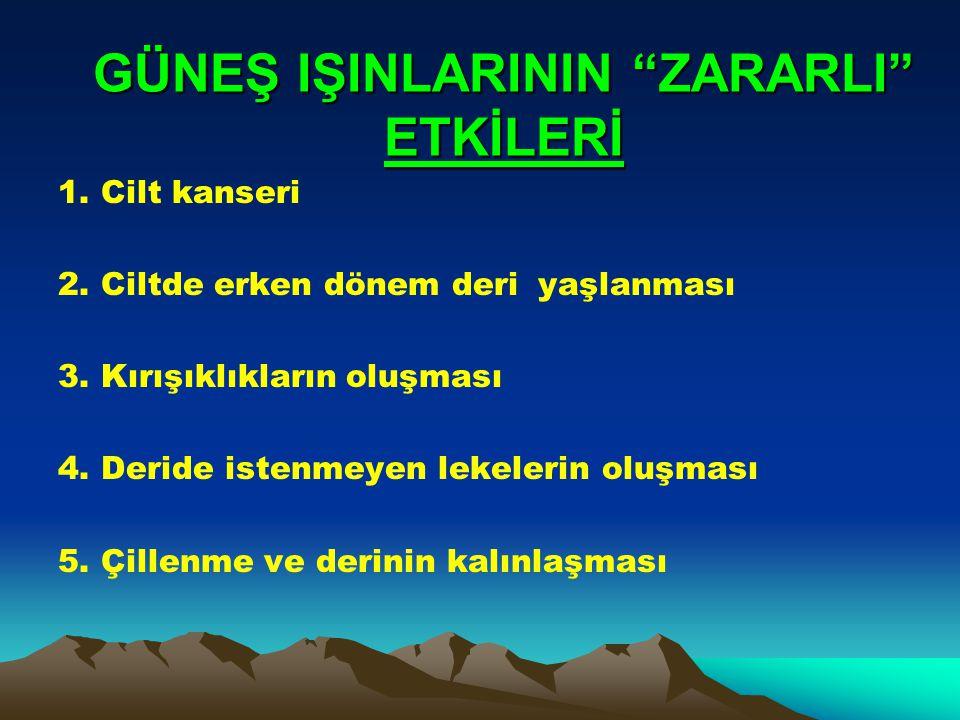 GÜNEŞ IŞINLARININ ZARARLI ETKİLERİ 1.Cilt kanseri 2.