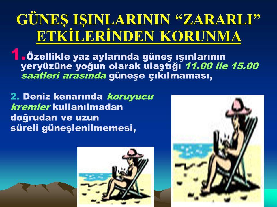 """GÜNEŞ IŞINLARININ """"ZARARLI"""" ETKİLERİNDEN KORUNMA 1. Özellikle yaz aylarında güneş ışınlarının yeryüzüne yoğun olarak ulaştığı 11.00 ile 15.00 saatleri"""
