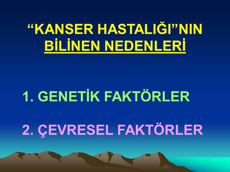 """""""KANSER HASTALIĞI""""NIN BİLİNEN NEDENLERİ 1. GENETİK FAKTÖRLER 2. ÇEVRESEL FAKTÖRLER"""