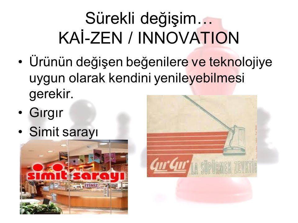 Sürekli değişim… KAİ-ZEN / INNOVATION Ürünün değişen beğenilere ve teknolojiye uygun olarak kendini yenileyebilmesi gerekir. Gırgır Simit sarayı