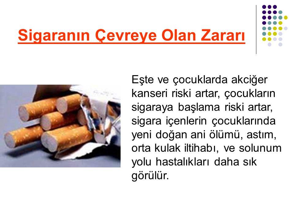 Sigaranın Çevreye Olan Zararı Eşte ve çocuklarda akciğer kanseri riski artar, çocukların sigaraya başlama riski artar, sigara içenlerin çocuklarında y