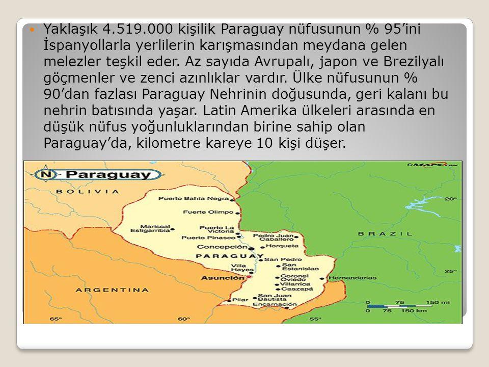 Yaklaşık 4.519.000 kişilik Paraguay nüfusunun % 95'ini İspanyollarla yerlilerin karışmasından meydana gelen melezler teşkil eder. Az sayıda Avrupalı,