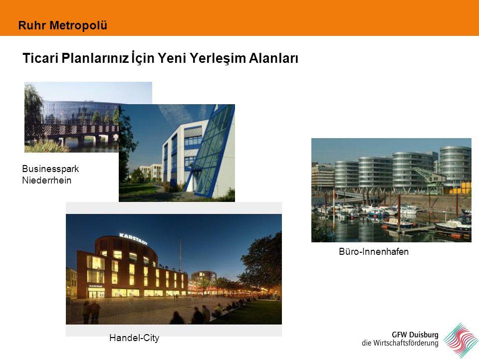 Ruhr Metropolü Ticari Planlarınız İçin Yeni Yerleşim Alanları Büro-Innenhafen Businesspark Niederrhein Handel-City