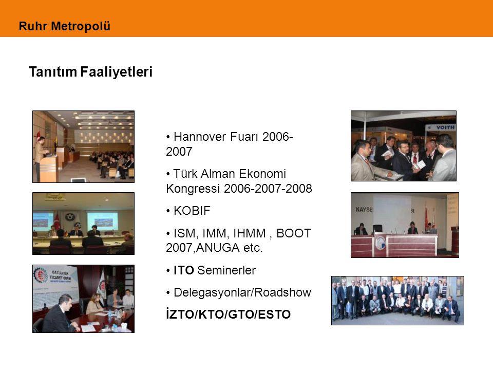 Tanıtım Faaliyetleri Hannover Fuarı 2006- 2007 Türk Alman Ekonomi Kongressi 2006-2007-2008 KOBIF ISM, IMM, IHMM, BOOT 2007,ANUGA etc.