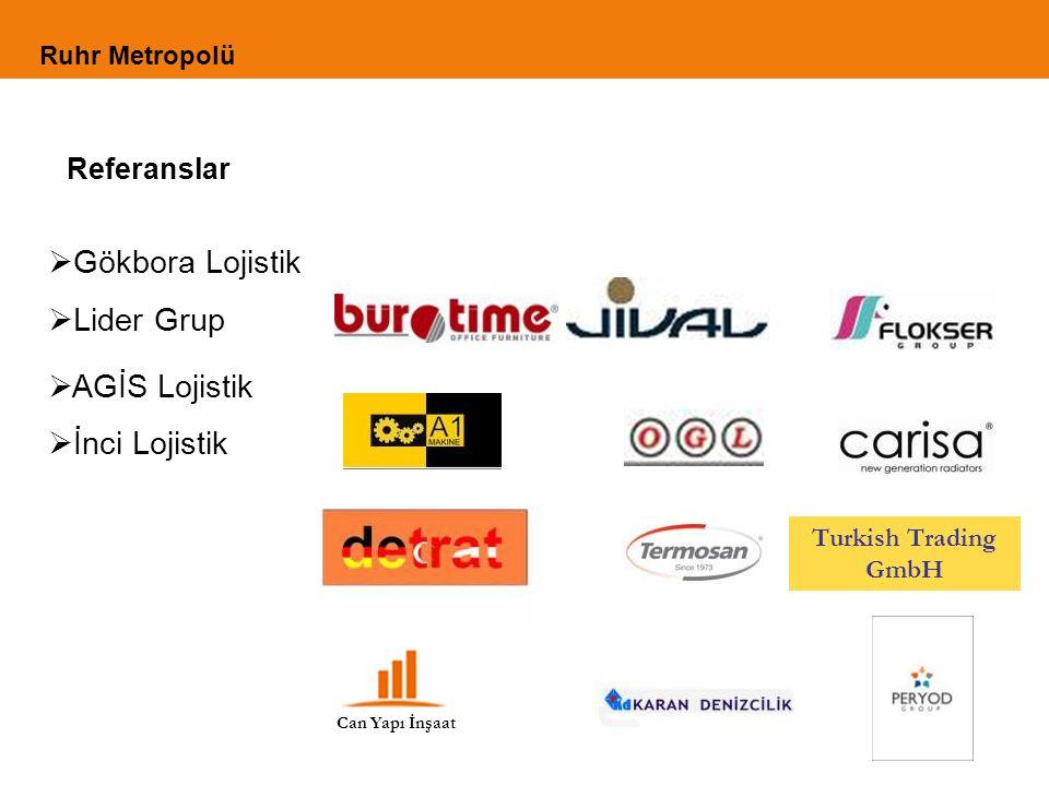 Referanslar Can Yapı İnşaat Turkish Trading GmbH  Gökbora Lojistik  Lider Grup  AGİS Lojistik  İnci Lojistik Ruhr Metropolü