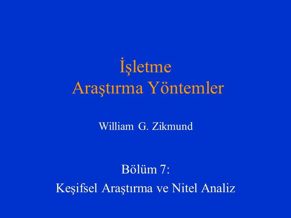İşletme Araştırma Yöntemler William G. Zikmund Bölüm 7: Keşifsel Araştırma ve Nitel Analiz
