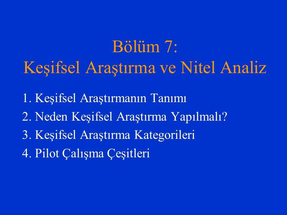 Bölüm 7: Keşifsel Araştırma ve Nitel Analiz 1. Keşifsel Araştırmanın Tanımı 2. Neden Keşifsel Araştırma Yapılmalı? 3. Keşifsel Araştırma Kategorileri