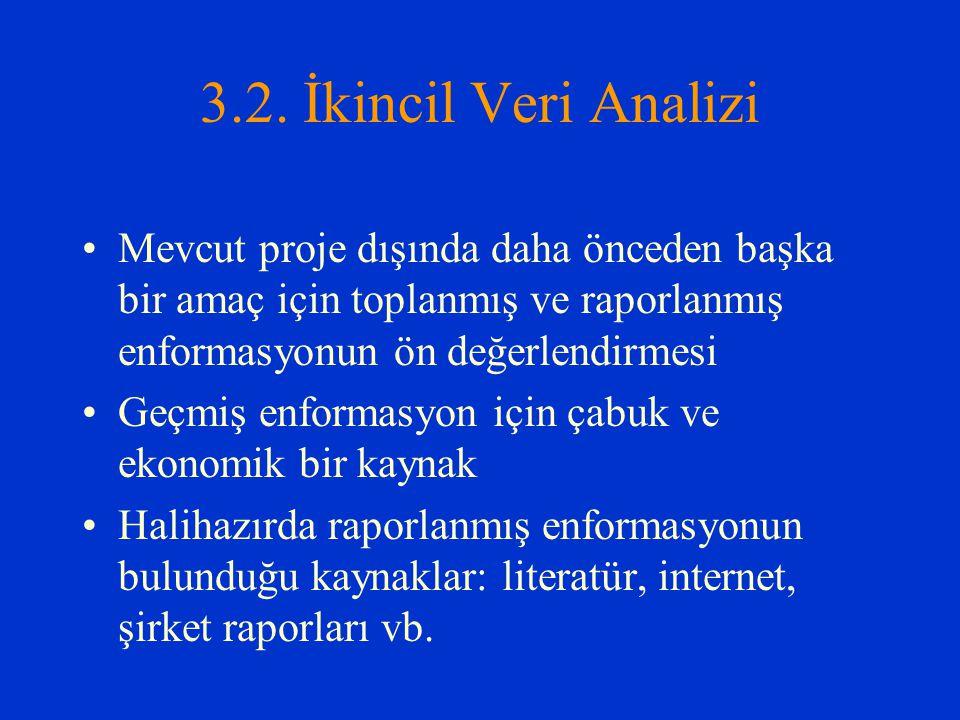 3.2. İkincil Veri Analizi Mevcut proje dışında daha önceden başka bir amaç için toplanmış ve raporlanmış enformasyonun ön değerlendirmesi Geçmiş enfor