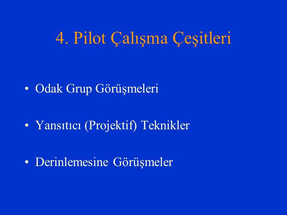 4. Pilot Çalışma Çeşitleri Odak Grup Görüşmeleri Yansıtıcı (Projektif) Teknikler Derinlemesine Görüşmeler