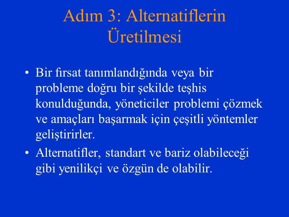 Adım 3: Alternatiflerin Üretilmesi Bir fırsat tanımlandığında veya bir probleme doğru bir şekilde teşhis konulduğunda, yöneticiler problemi çözmek ve