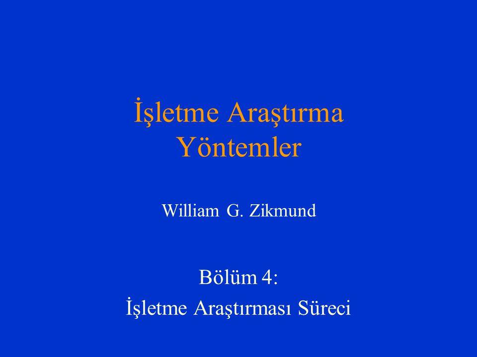İşletme Araştırma Yöntemler William G. Zikmund Bölüm 4: İşletme Araştırması Süreci