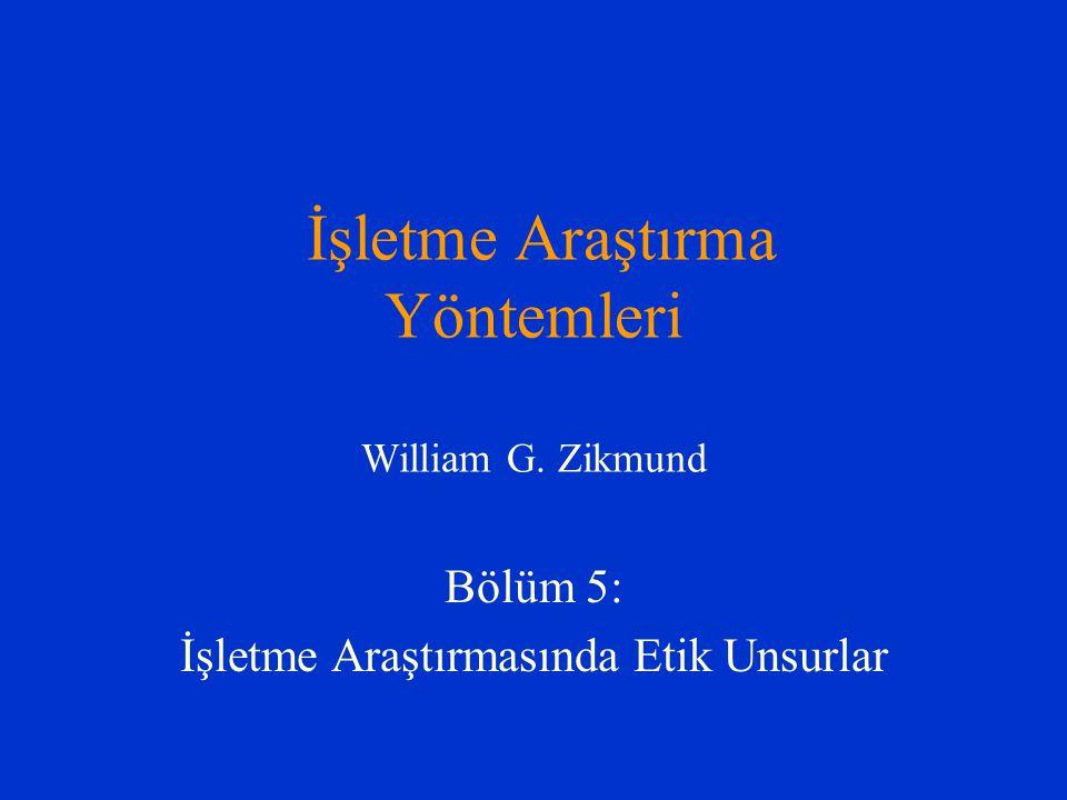 İşletme Araştırma Yöntemleri William G. Zikmund Bölüm 5: İşletme Araştırmasında Etik Unsurlar