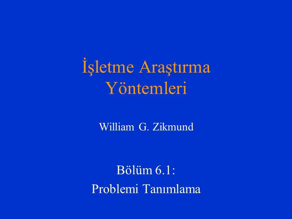 İşletme Araştırma Yöntemleri William G. Zikmund Bölüm 6.1: Problemi Tanımlama