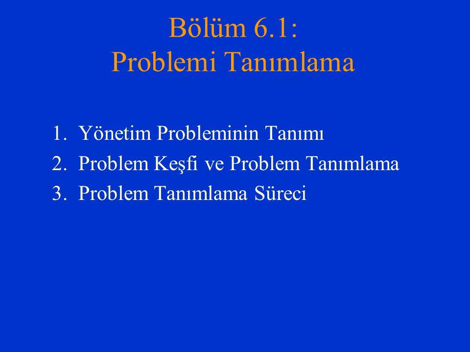Bölüm 6.1: Problemi Tanımlama 1.Yönetim Probleminin Tanımı 2. Problem Keşfi ve Problem Tanımlama 3. Problem Tanımlama Süreci