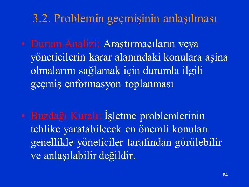 84 3.2. Problemin geçmişinin anlaşılması Durum Analizi: Araştırmacıların veya yöneticilerin karar alanındaki konulara aşina olmalarını sağlamak için d