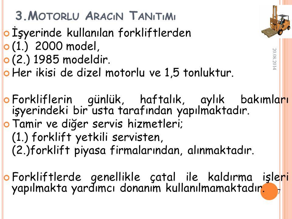 3.M OTORLU A RACıN T ANıTıMı İşyerinde kullanılan forkliftlerden (1.) 2000 model, (2.) 1985 modeldir.
