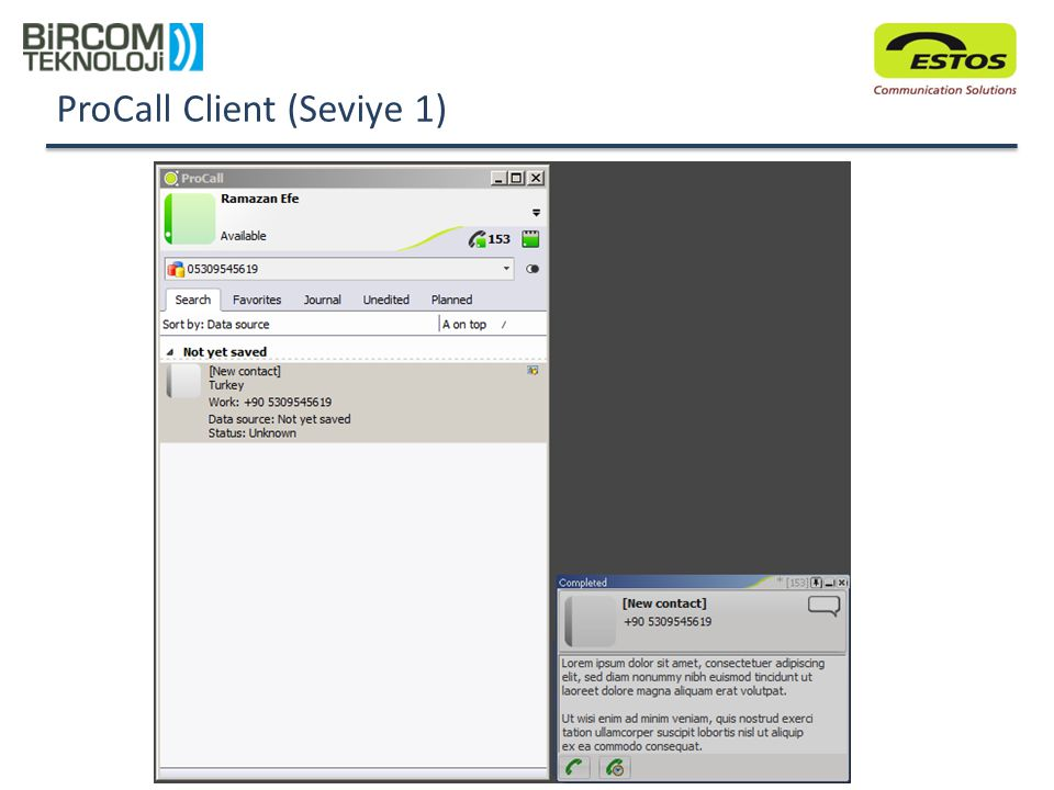 ProCall Client (Seviye 1) Numerik kısım