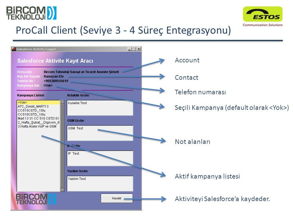 ProCall Client (Seviye 3 - 4 Süreç Entegrasyonu) Account Contact Telefon numarası Seçili Kampanya (default olarak ) Not alanları Aktif kampanya listes