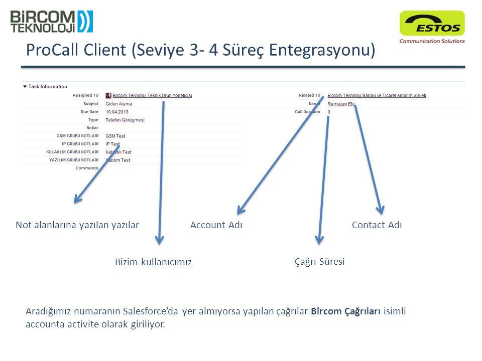 ProCall Client (Seviye 3- 4 Süreç Entegrasyonu) Not alanlarına yazılan yazılar Çağrı Süresi Bizim kullanıcımız Contact AdıAccount Adı Aradığımız numar